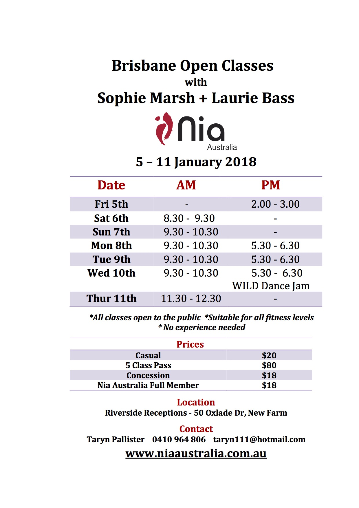 Brisbane White Belt open class schedule